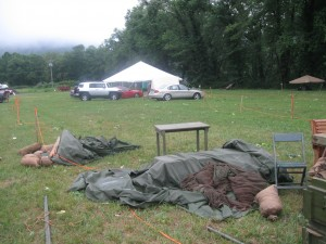 What was left of the camp on Saturday Morning